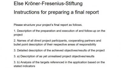 Instructions for preparing a final report