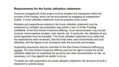 Requirements for the funds utilisation statement
