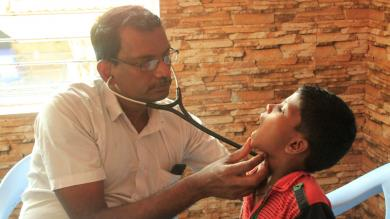 Regularly a doctor comes to the Don Bosco Centers to check to health status of the children