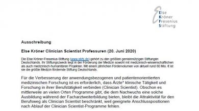Ausschreibung: Else Kröner Clinician Scientist Professuren 2020