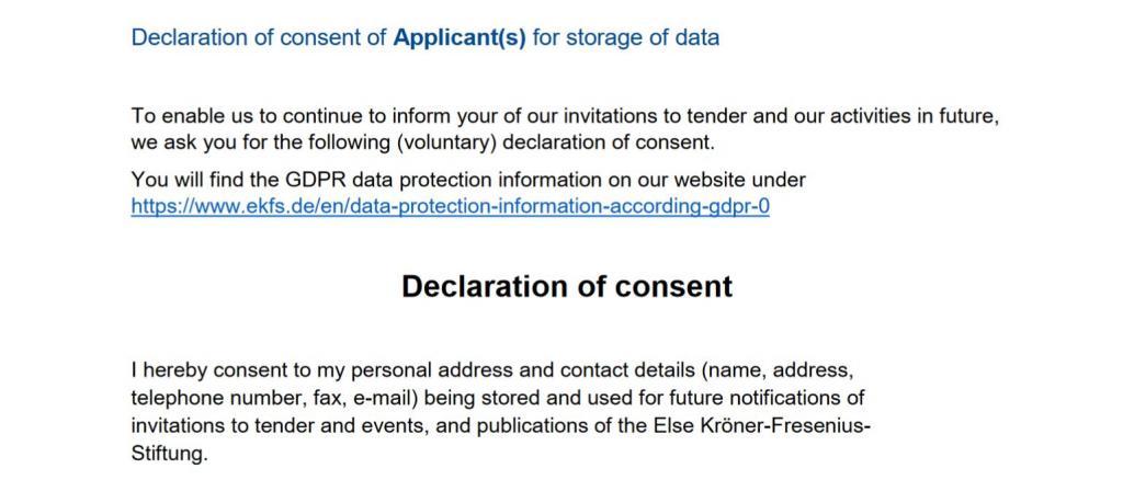 Key Projects: Declaration of Consent of Applicants | Else Kröner